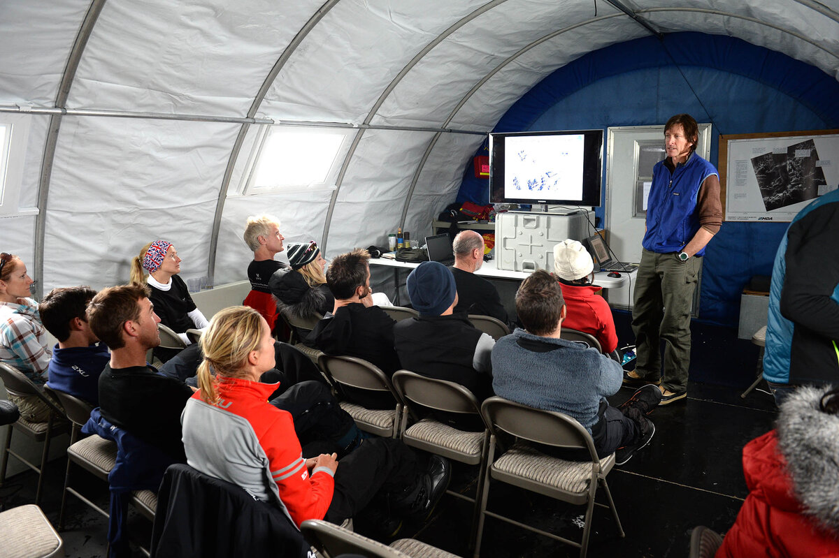 Guests enjoy a lecture in Union Glacier Camp