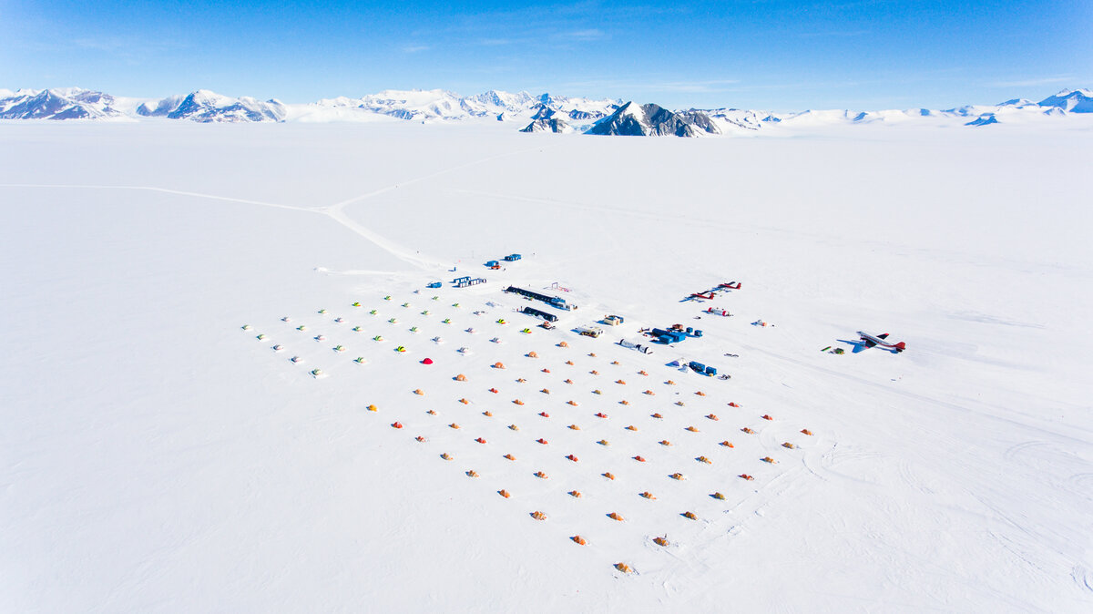 Aerial view of Union Glacier Camp