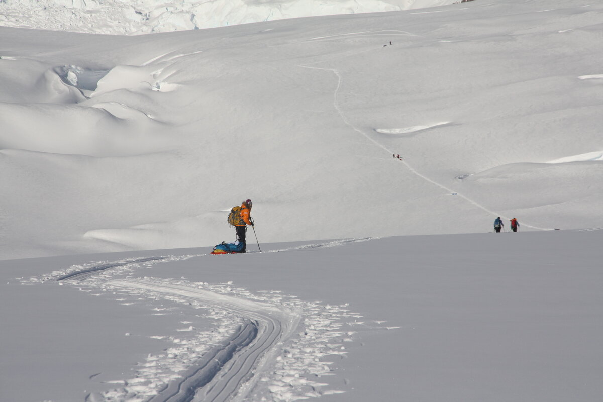 Sled hauling thru steep, crevassed terrain, below the Amundsen Icefall