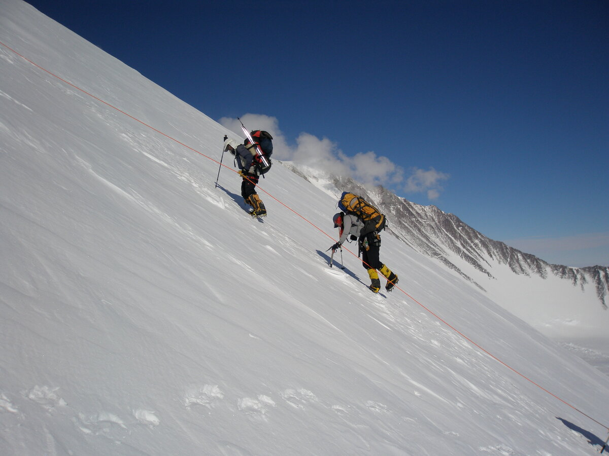Climbing 40 degree snow on the fixed lines