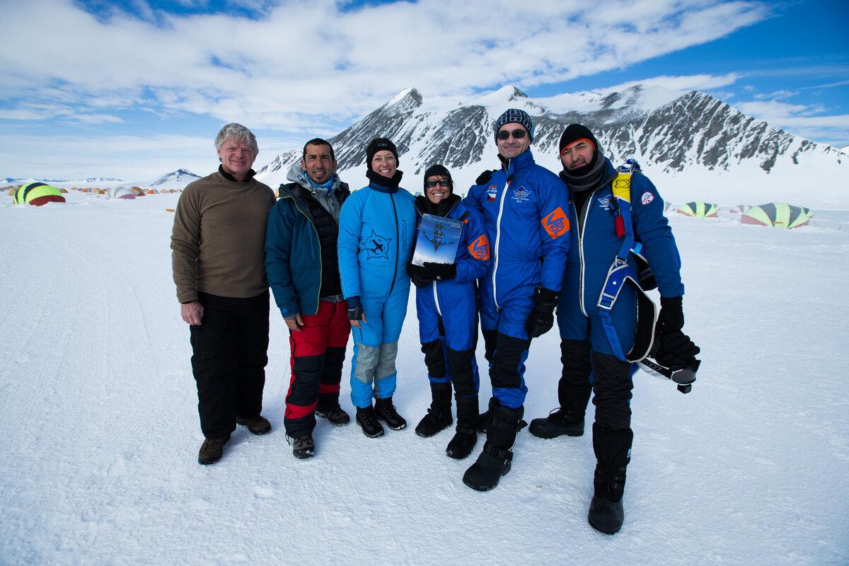 Team celebrates a successful week of jumps in Antarctica