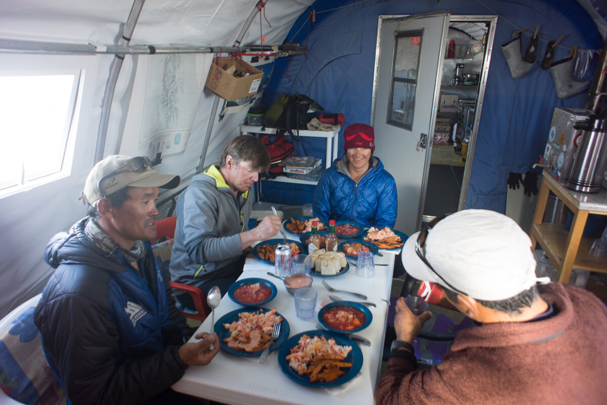 ALE guides and guests enjoy dinner at Vinson Base Camp