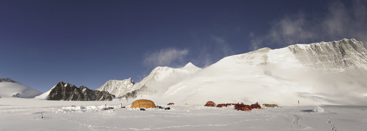 Panoramic view of Mount Vinson low camp, looking north