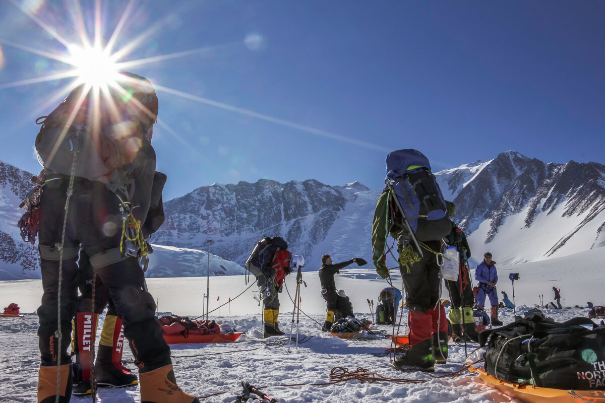 Climbers prepare to depart Vinson Base Camp