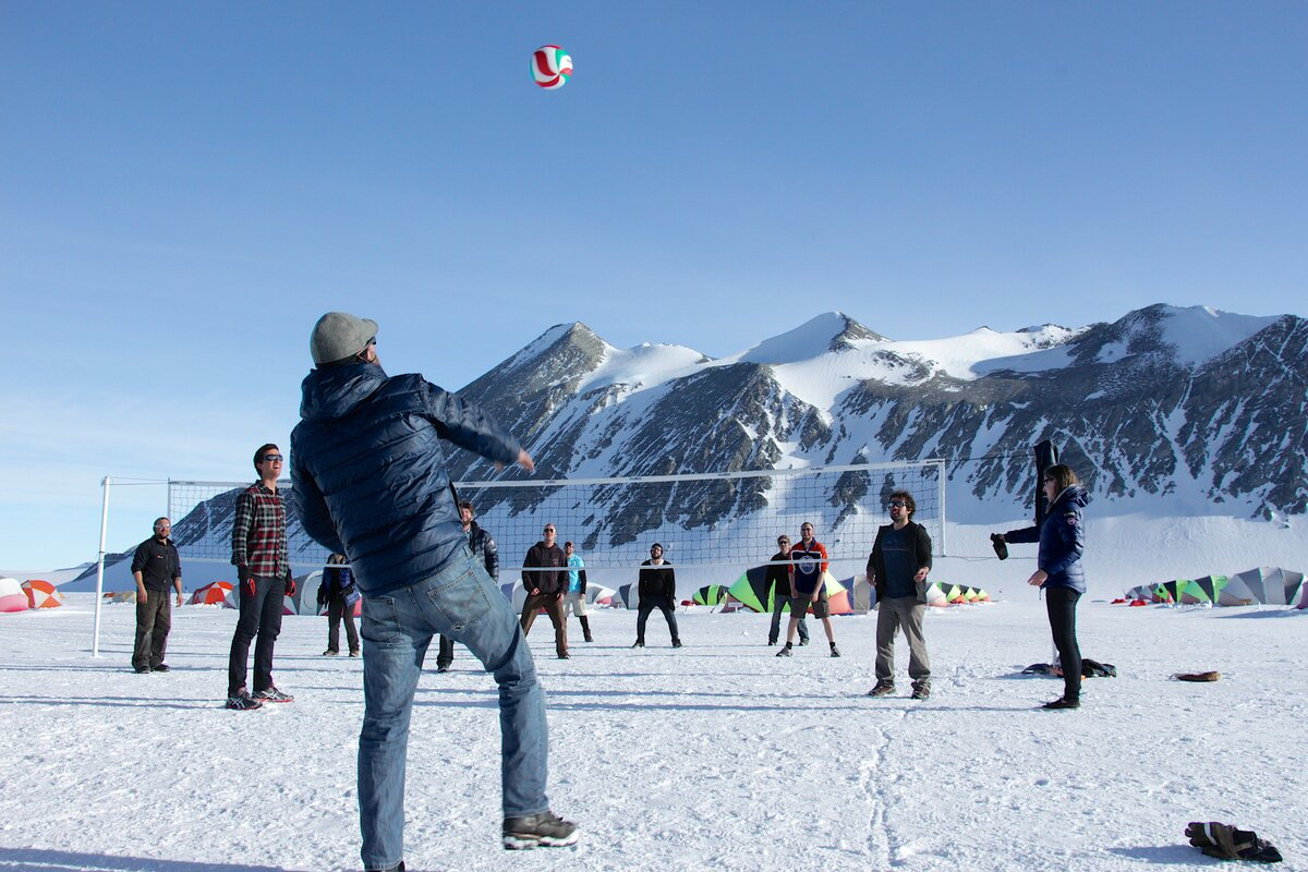 Volleyball game at Union Glacier Camp
