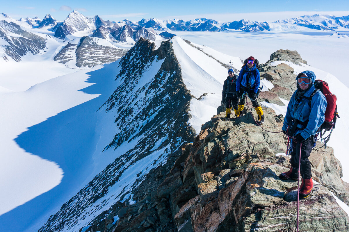 Climbers on the east summit of Mount Rossman