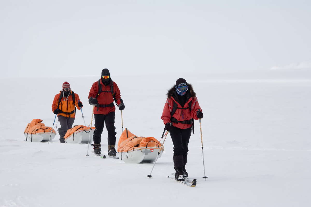 Ski expedition team pull their sleds over a white landscape