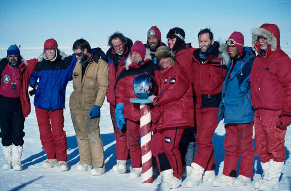 First guided ski expedition at South Pole, January 17, 1989