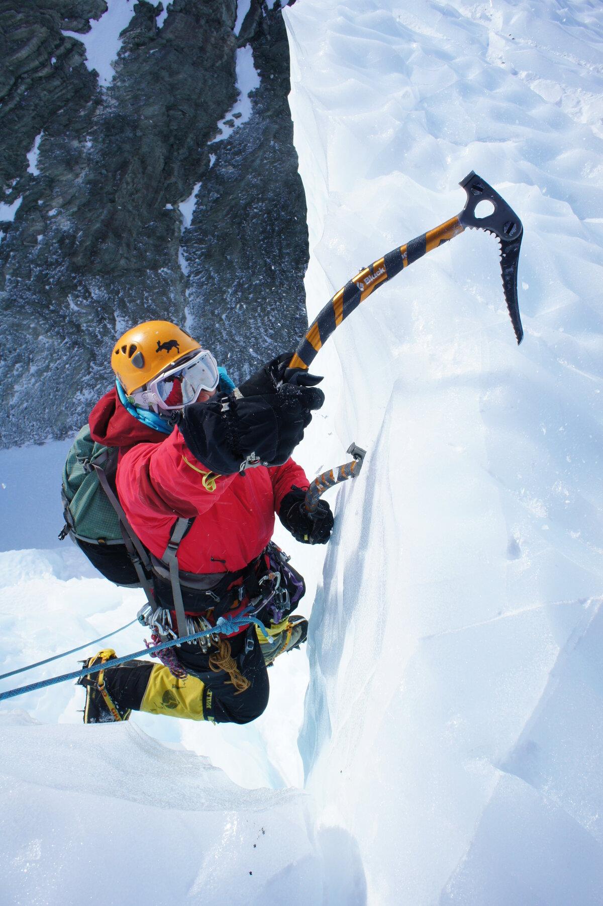 Vertical ice climbing at Charles Peak Windscoop
