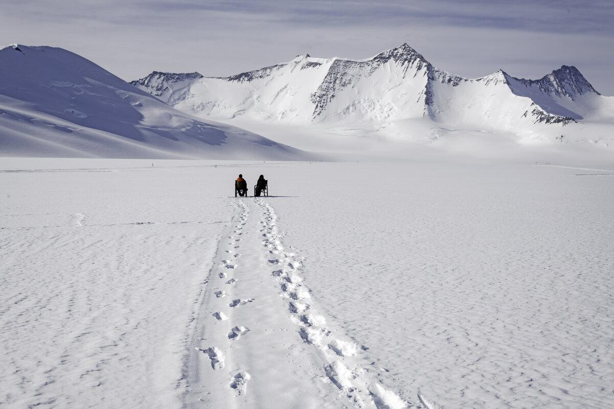 Footprints lead to Mount Sporli viewing deck