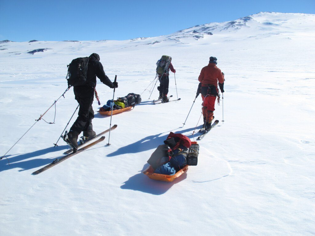 Ski approach with sleds, to the base of Mount Sidley