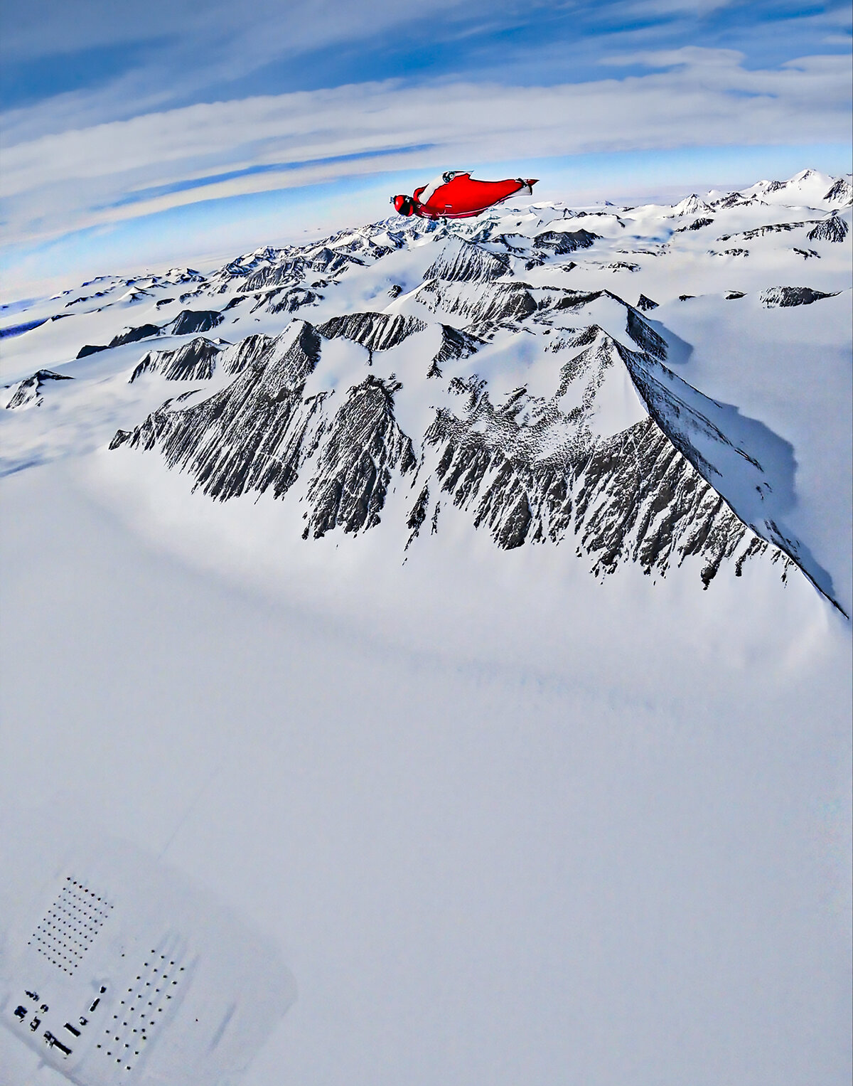 Flying over Mount Rossman and Union Glacier Camp