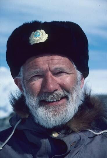 Dr. Charles Swithinbank surveys Patriot Hills blue-ice runway, 1986