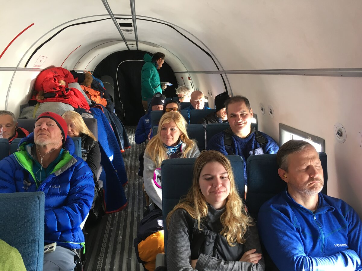 Guests on board the Basler aircraft, en route to South Pole
