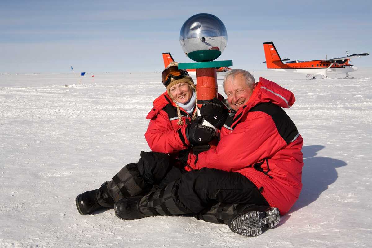 Guests hug the Ceremonial South Pole