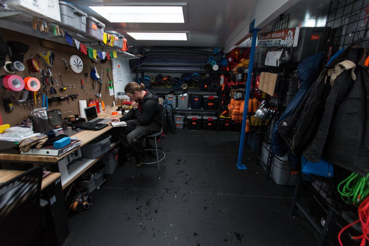 Field equipment store at Union Glacier Camp