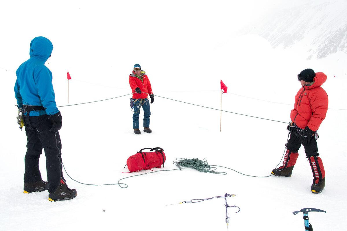 Glacier travel training at Union Glacier Camp
