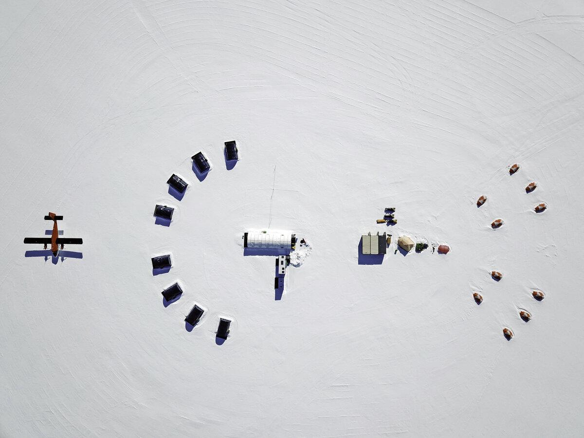 Aerial view of Three Glaciers Retreat