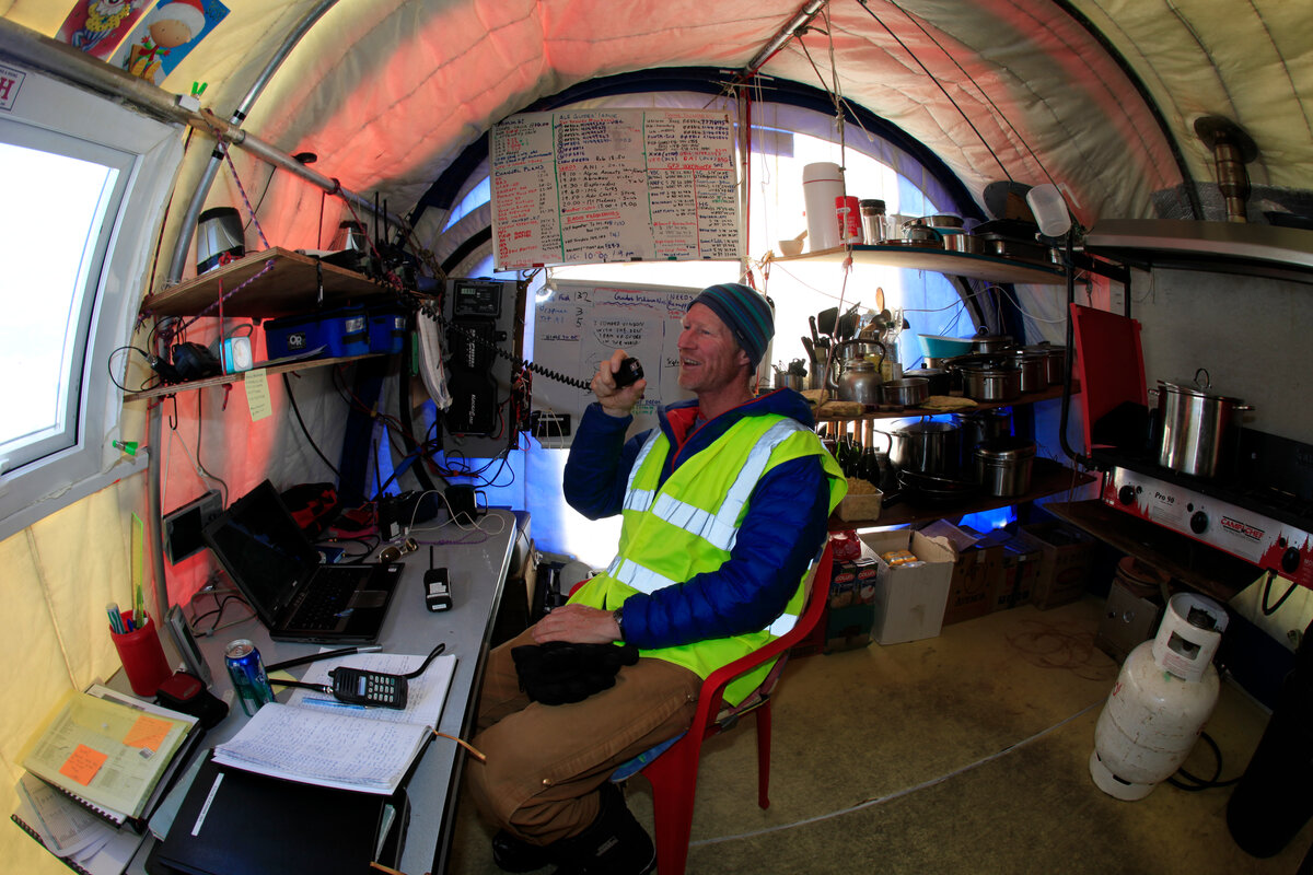 ALE's Vinson Base Camp Manager mans the radio