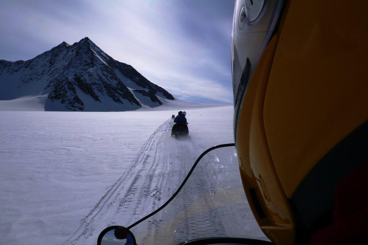 Snowmobile approach to Mount Sporli