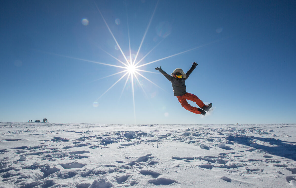Jumping for joy upon reaching the South Pole
