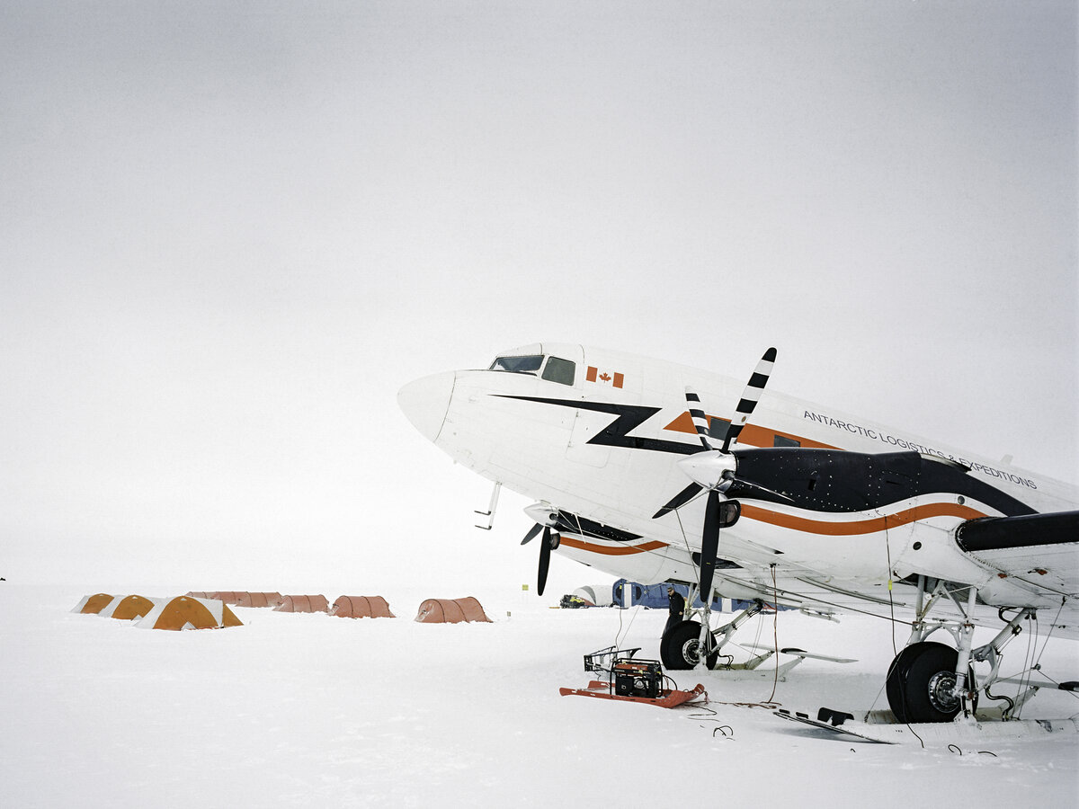 The Basler parked at ALE's South Pole Camp