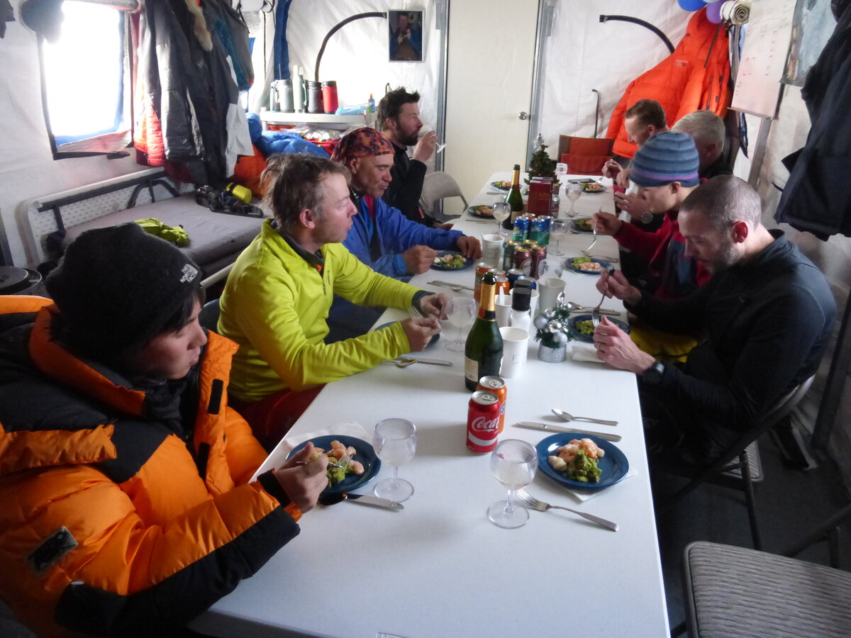 Guests enjoy a meal at ALE's South Pole Camp