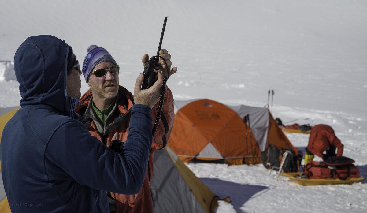 Helping climber with VHF radio