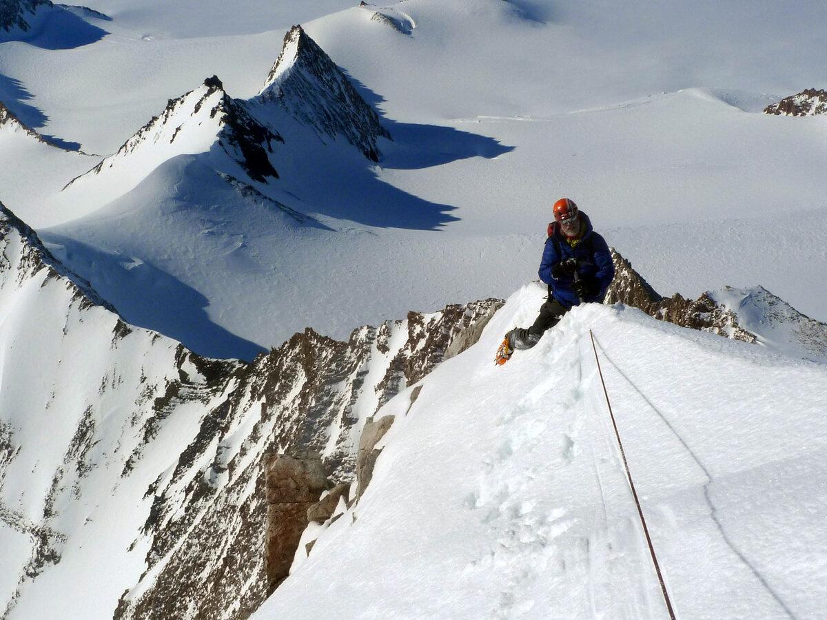 Climber on the southeast ridge of Mount Allen