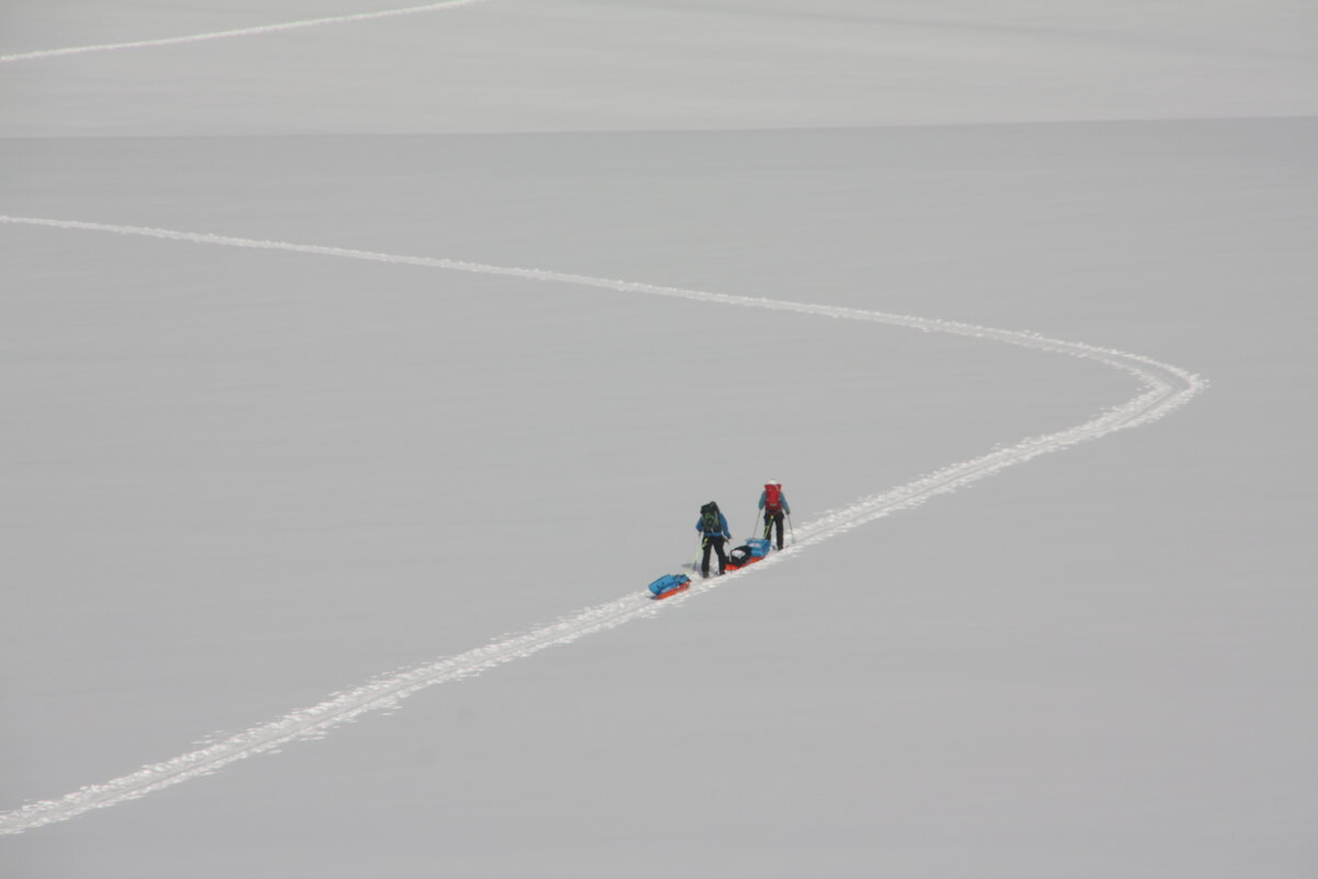 Ski track leads up the upper Axel Heiberg Glacier