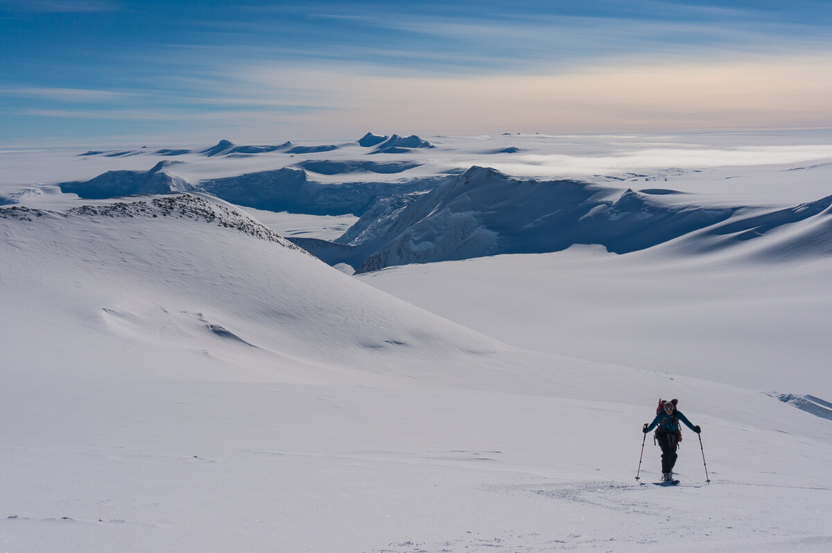 Ski touring surrounded by endless white and mountains