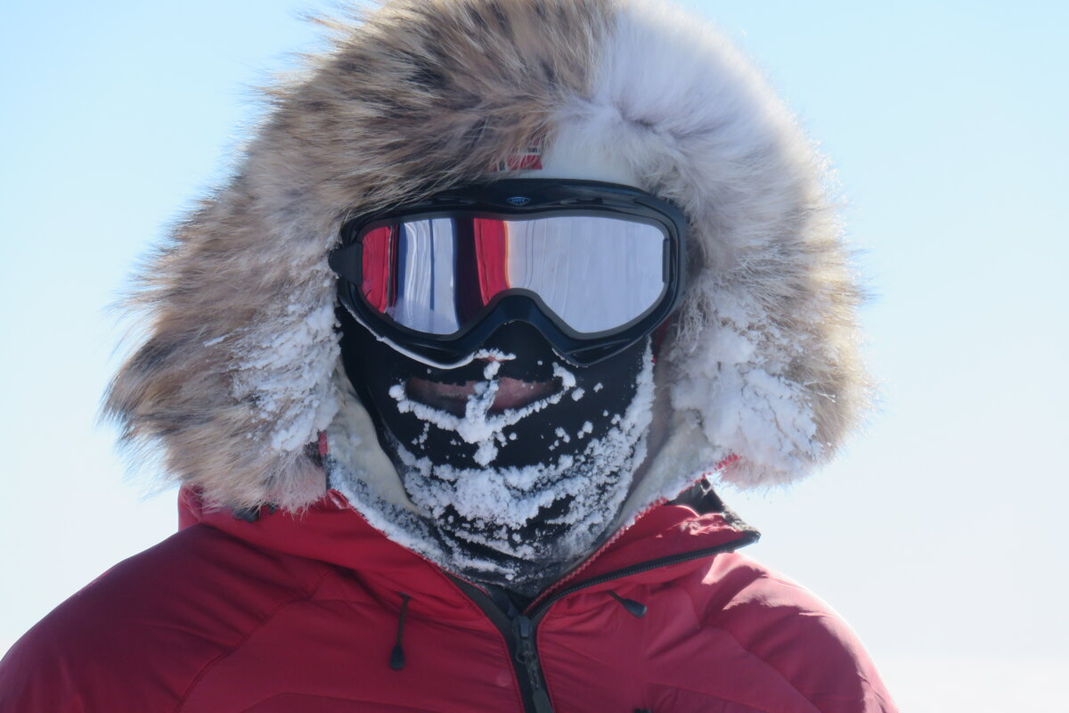 Ski Last Degree guest with frost covered balaclava