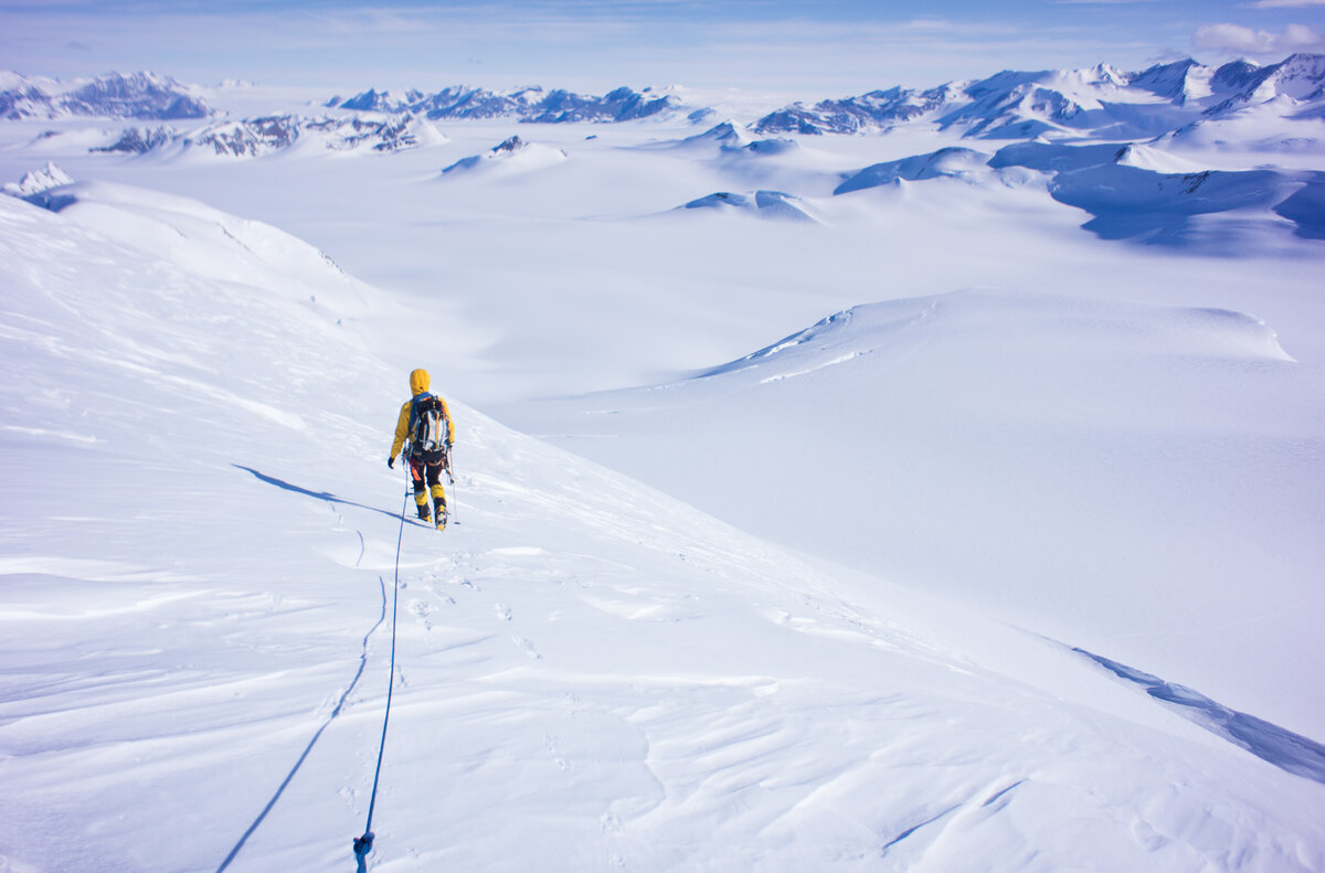 Climber descends a peak in the southern Ellsworth Mountains