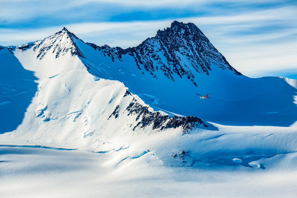 Twin Otter prepares to land at Three Glaciers